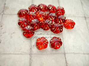 6 Golden Ruby Red & Orange Pillow Flower Czech Glass Beads