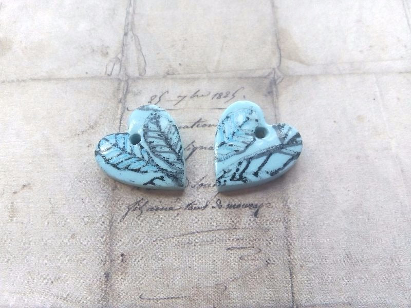 Blue Heart Polymer Clay Charms Leaf pattern