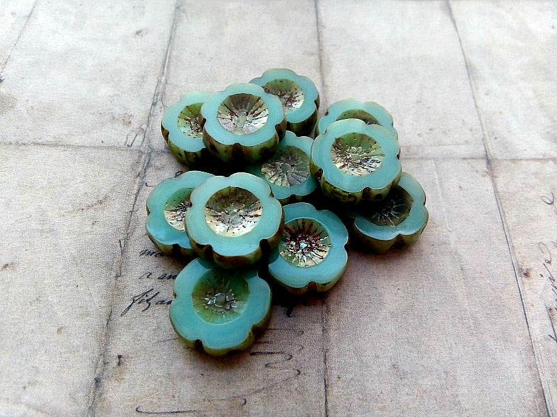 Mint Green Hawaiian Pansy Flower Bloom Czech Glass Beads 14 mm