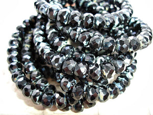 10 Jet Black Rondelle Czech Glass Beads 9 mm x 6 mm