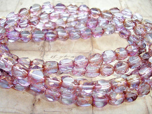 10 Light Lilac 3 Sided Round Czech Glass Beads 8 mm