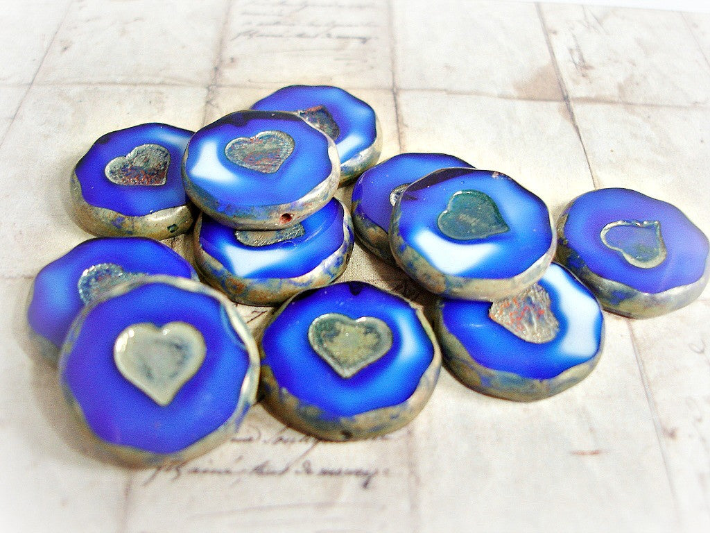 2 Cobalt Blue Large Heart Focal Coin Beads 21 mm