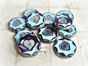 2 Sky Blue & Purple Large Heart Focal Czech Glass Coin Beads 21 mm