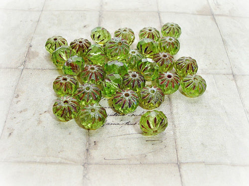 10 Light Peridot Green Rondelle Cruller Czech Glass Beads 9 mm x 6 mm