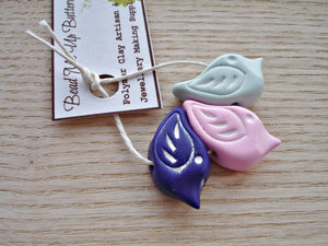 Set Of 3 - Polymer Clay Birds In Light Mint Green, Pink & Dark Purple - Handcrafted Artisan Clay Beads