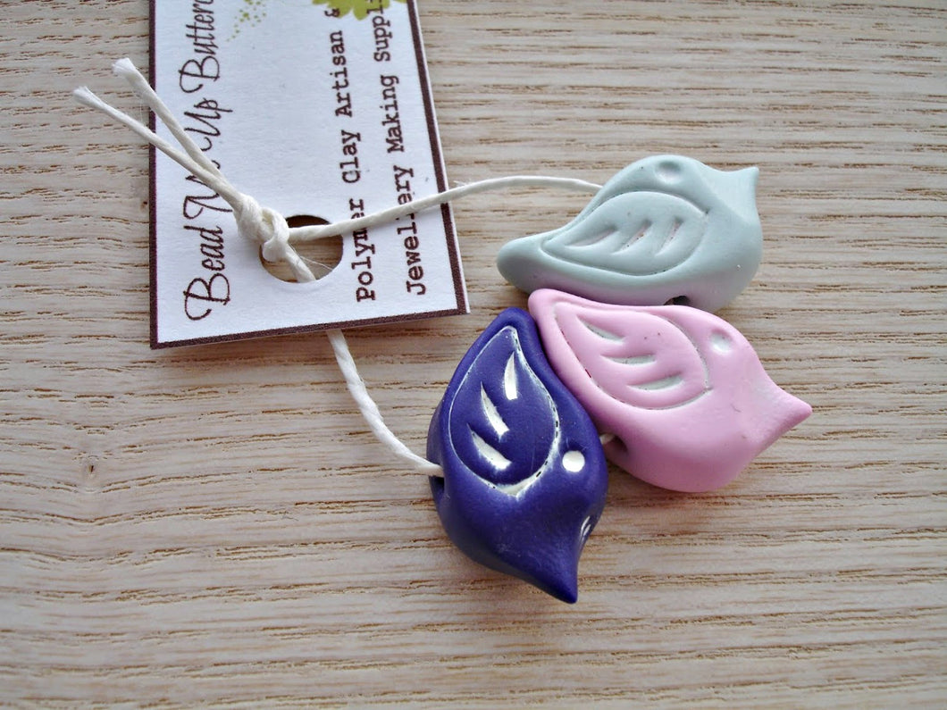 LAST SET - Set Of 3 - Polymer Clay Birds In Light Mint Green, Pink & Dark Purple - Handcrafted Artisan Clay Beads