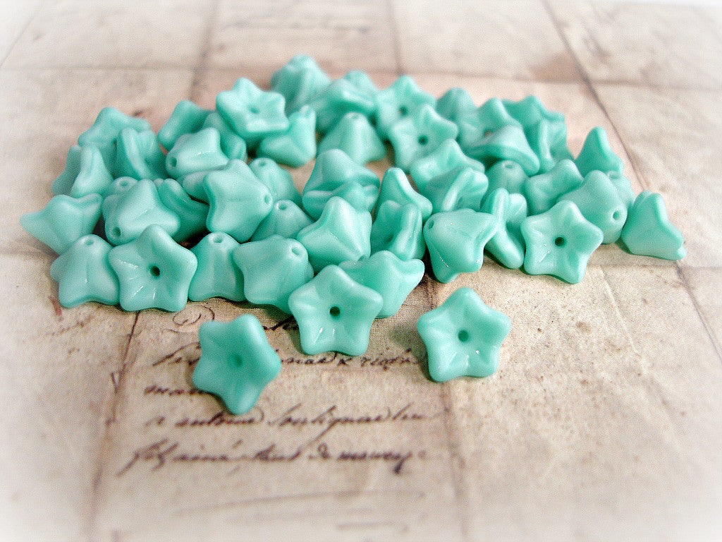 Matte Turquoise Blue Czech Glass Trumpet Bell Flower Beads 6 mm x 9 mm