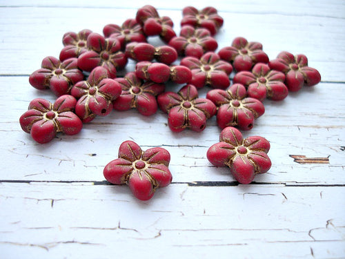 6 Matte Crimson Red Puffed Daisy Flower Czech Glass Beads 14 x 13 mm