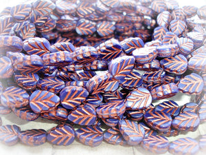 10 Midnight Navy Blue & Copper Czech Glass Leaf Beads