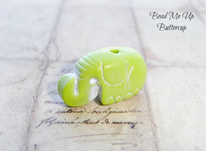1 Set Of 3 Polymer Clay Peach, Blue & Lime Green Nellie Elephants - Artisan Clay Elephants