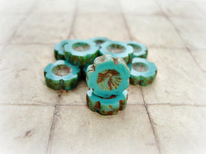 6 Rustic Aqua Blue Green Hawaiian Pansy Flower Bloom Czech Glass Beads 14 mm