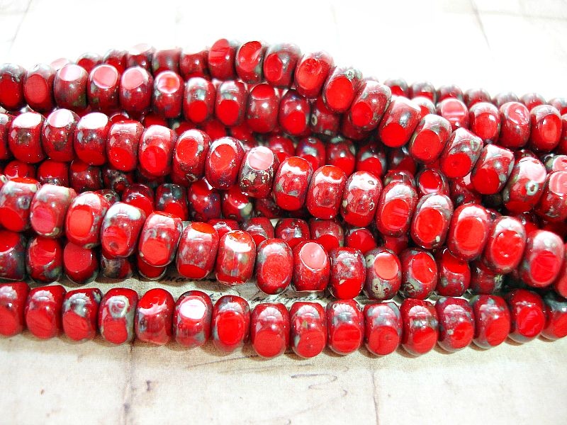 10 Deep Red 3 Sided Rondelle Czech Glass Beads 4 mm x 7 mm
