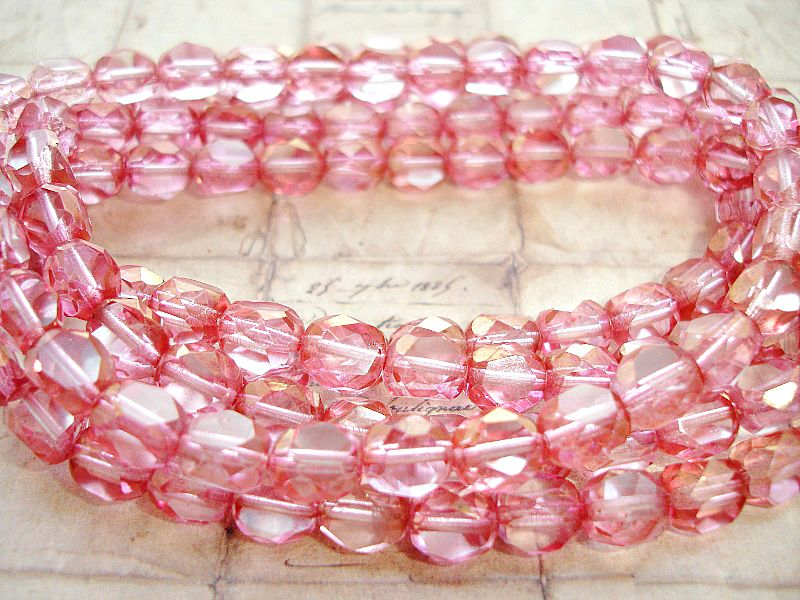 Transparent Pink 3 Sided Round Czech Glass Beads 8 mm
