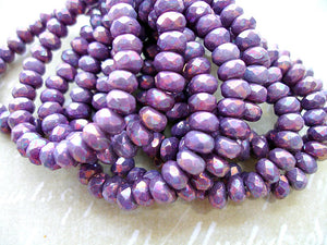 10 Purple Lilac Rondelle Beads Fire Polished Czech Glass 5 mm x 3 mm
