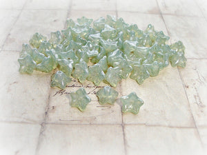 10 Silvery Sage Green Trumpet Bell Czech Glass Flower Beads