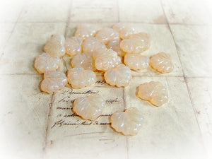6 Peach Champagne Czech Glass Maple Leaf Beads