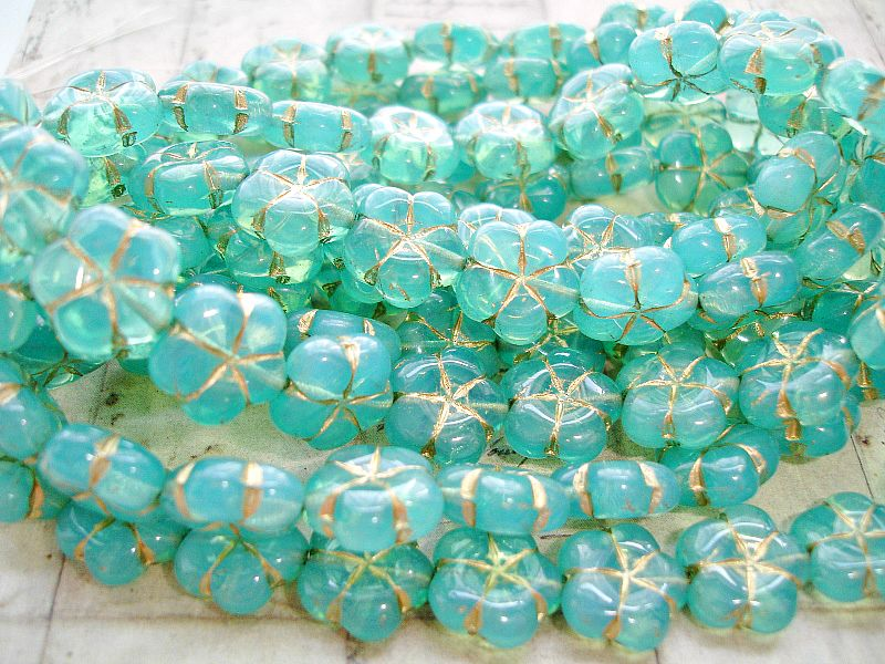 6 Pool Blue Puffed Daisy Flower Czech Glass Beads 14 mm