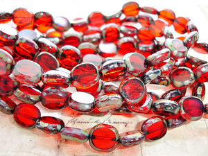 6 Ruby Red Oval Coin Czech Glass Beads 9 mm x 10 mm