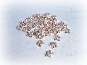 Bright Copper Tone Flower Bead Caps 9 mm