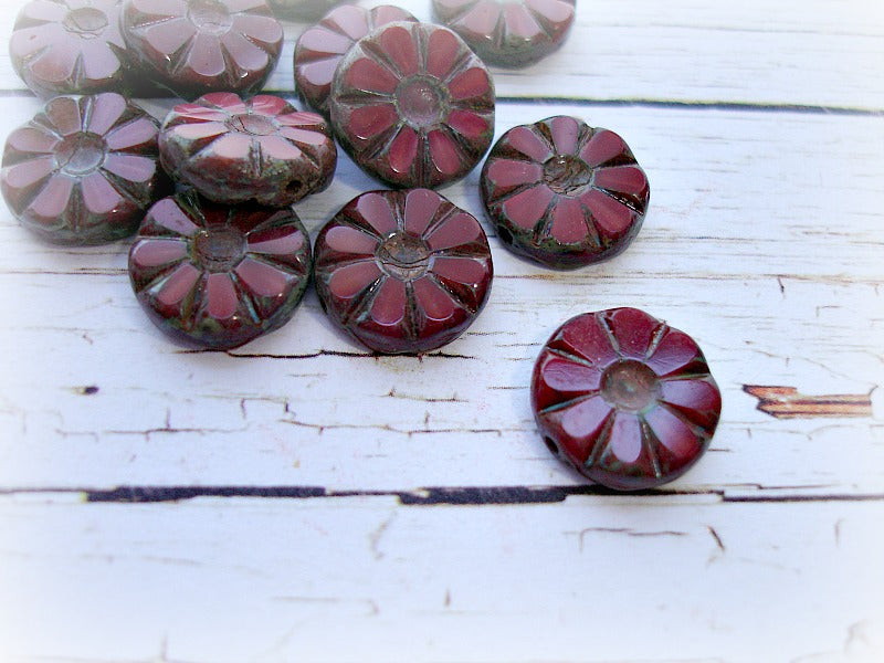6 Rustic Dark Red Czech Glass Flower Coin Daisy Beads