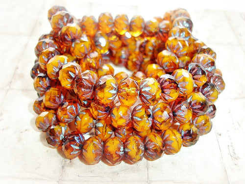 10 Rustic Pumpkin Orange Rondelle Cruller Czech Glass Beads 9 mm x 6 mm