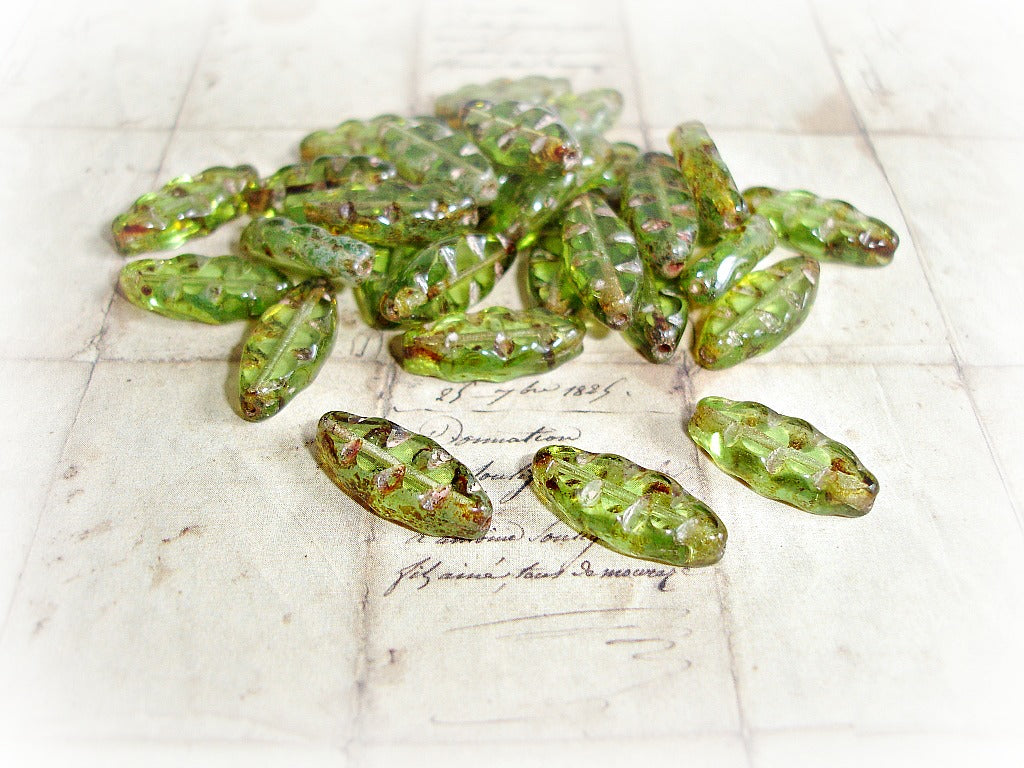 Rustic Green Oval Spindle Czech Glass Beads