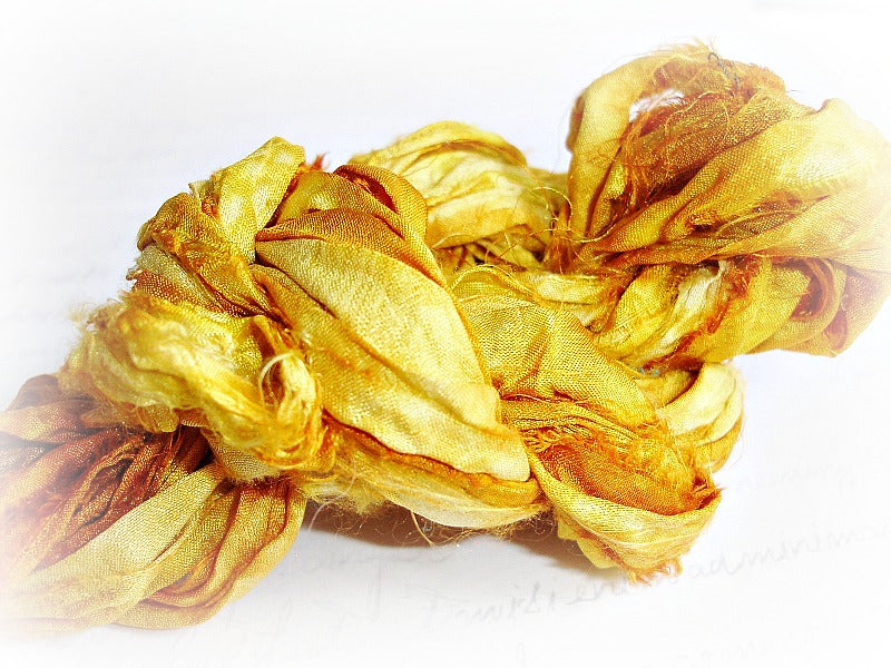 Saffron Golden Yellow Hand Dyed Sari Silk