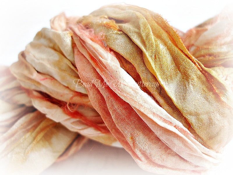 2 Yards Rustic Peach Hand Dyed Sari Silk