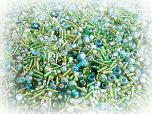 Green Seed Bead Mix - Meadow Emerald & Mint Green Sizes 3/0 - 11/0