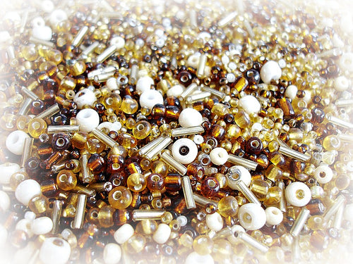 Brown Seed Bead Mix - Coffee & cream 3/0 - 11/0