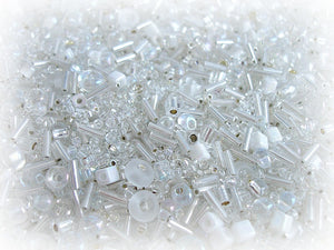 White Seed Bead Mix - Icy White Sizes 3/0 - 11/0