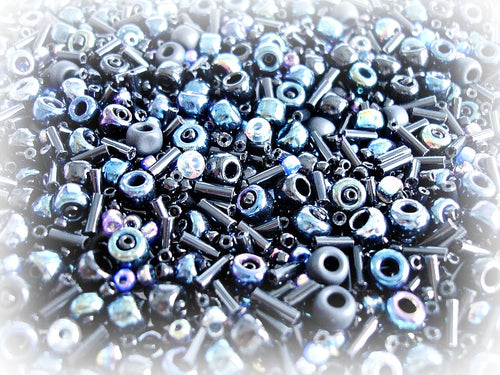 Black Seed Bead Mix - Black Galaxy 3/0 - 11/0