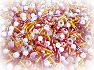 Orange Seed Bead Mix - Bonfire Red Orange & Peach 3/0 - 11/0
