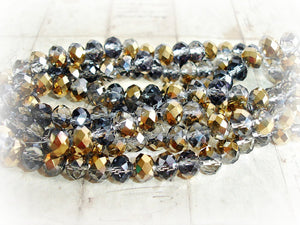 20 Smokey Grey Glass Beads Rondelle Beads Fire Polished 6 mm x 8 mm