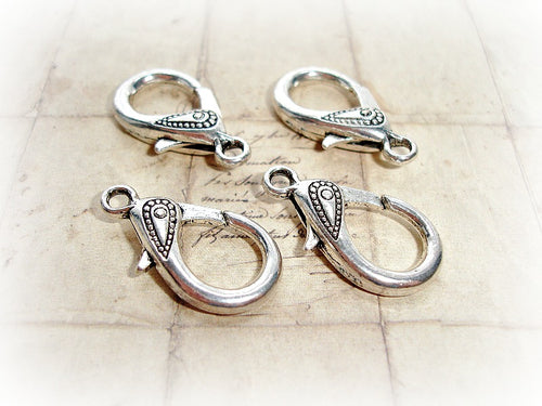 4 Silver Lobster Clasps Large Carved Dot Pattern