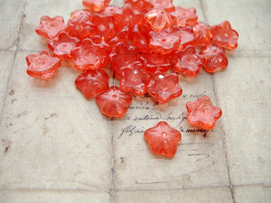 Strawberry Punch Pink Cupped Flower Czech Glass Beads