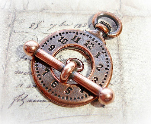 Tierracast Antique Copper Pocket Watch Toggle Clasp - High Quality