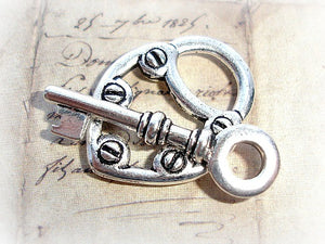 1 Tierracast Toggle Clasp - High Quality - Antique Silver Large Heart Lock & Key