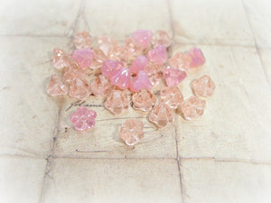 20 Sweet Peach & Pink Czech Glass Tiny Trumpet Bell Flower Beads