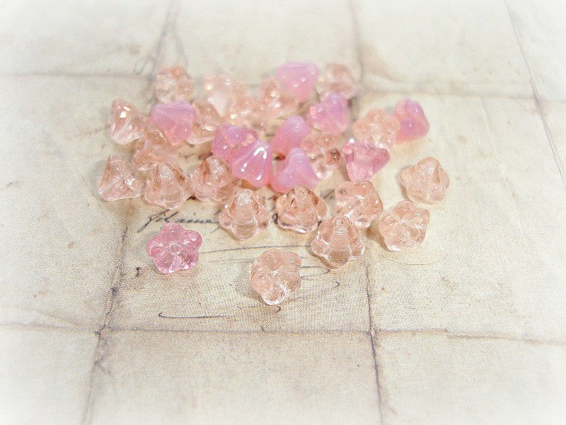 20 Tiny Sweet Peach & Pink Czech Glass Trumpet Bell Flower Beads