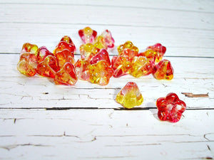 10 Tangy Fuchsia & Lemon Trumpet Bell Czech Glass Flower Beads