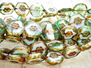 6 Rustic Emerald Green & Picasso Brown Czech Glass Coin Beads 15 mm