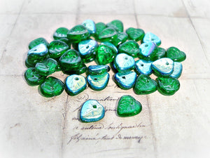 20 Emerald Green Heart Shaped Czech Glass Leaf Beads