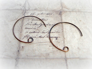 1 Pair Antique Bronze Round Ear Wires - Artist Made
