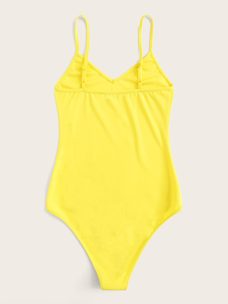 Neon Yellow Solid Cami Bodysuit
