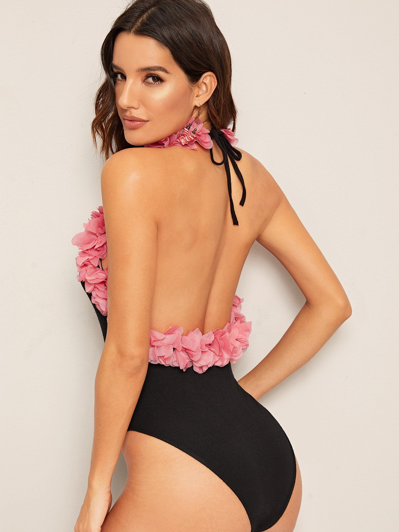 3D Exaggerated Ruffle Backless Halter Bodysuit