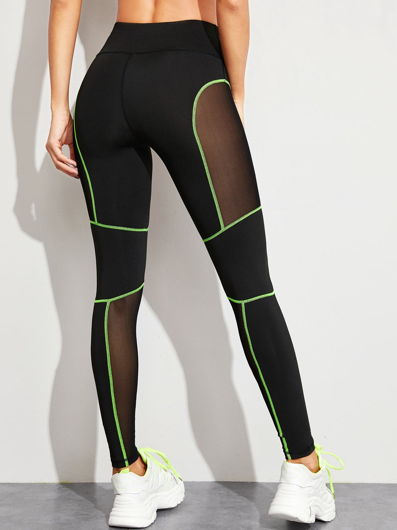 Contrast Binding Mesh Panel Leggings