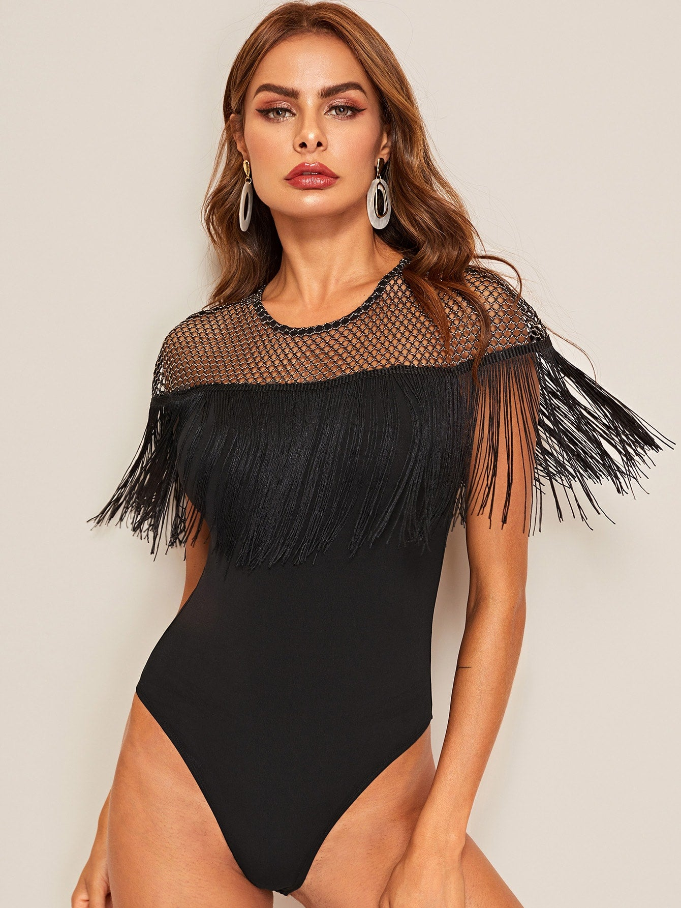 Glitter Sheer Yoke Fringe Trim Bodysuit