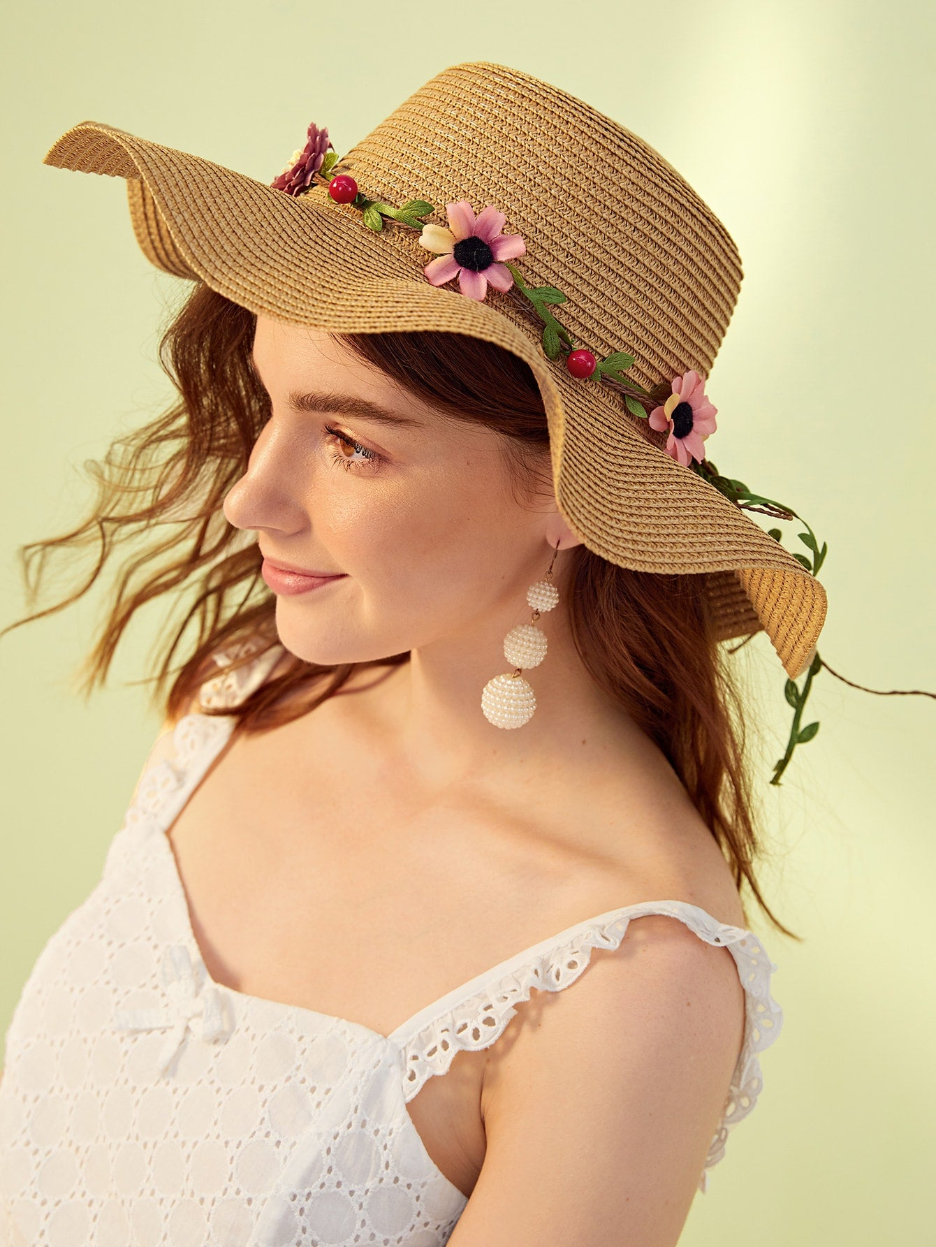 Flower & Cherry Decor Bow Knot Floppy Hat