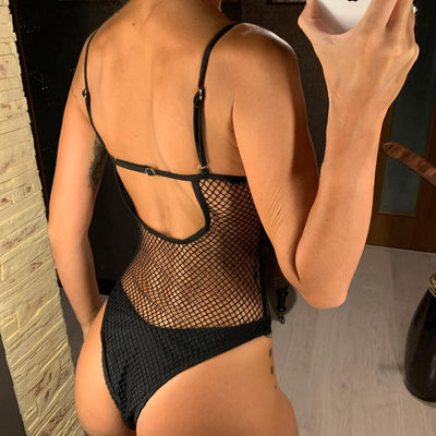 Black Mesh Sheer One Piece Swimsuit